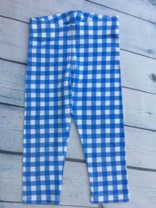 Mini Boden blue checked cropped leggings age 5-6 (playwear)